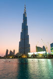 Dramatic view of Burj Khalifa, the world's tallest building, Dub Royalty Free Stock Image