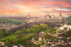 Dramatic view on the castle in Kamianets-Podilskyi Stock Photos