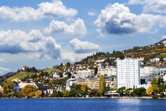 Dramatic view on coast in Montreux Stock Image