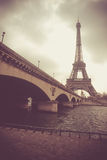 Dramatic view on Eiffel tower and Jena bridge Royalty Free Stock Images