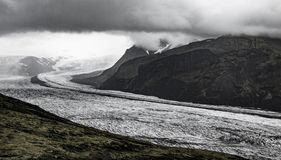 Dramatic view on the glacier tongue royalty free stock images