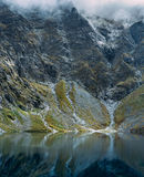 Dramatic view of high mountain lake. Dramatic view of Black Lake below Mount Rysy, Eastern Tatras, Poland stock photos