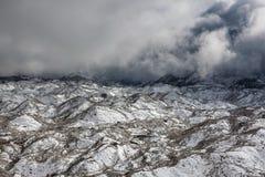 Dramatic view over Ngozumpa glacier in Sagarmatha. Dramatic view over Ngozumpa glacier in Sagarmatha National Park, Himalayas, Nepal. Dark and scary Himalayan Stock Image