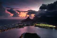 Dramatic View of Rio de Janeiro by Sunset Stock Images