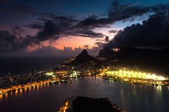 Dramatic View of Rio de Janeiro by Sunset Royalty Free Stock Images