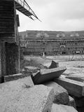 Dramatic view of rubble inside Nazi court yard Royalty Free Stock Photography