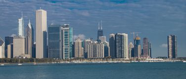 A Dramatic View of the Chicago Skyline stock images