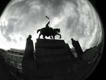 Dramatic view on statue of saint Vaclav in Prague Royalty Free Stock Photography