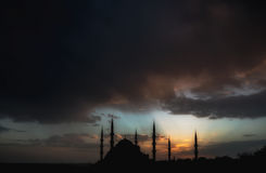 Dramatic view on Sultan Ahmet Mosque before the thunderstorm Royalty Free Stock Images