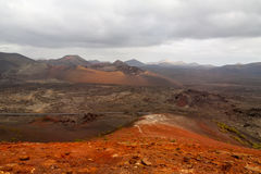 Dramatic view of Timanfaya national park Royalty Free Stock Images