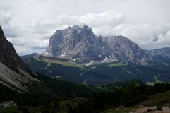 Dramatic view to distinctive mountains in south tyrol Stock Image