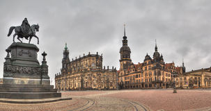 Dramatic view to Dresden Old Town, Germany Royalty Free Stock Photos