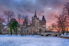 Dramatic view of Vajdahunyad castle in Budapest stock photo