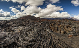 Dramatic views of the volcanic landscape. Royalty Free Stock Photo