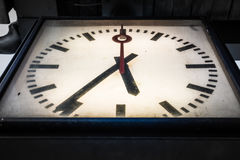 Dramatic Vignette Clock Dirty Grungy Vintage Closeup Below Persp Royalty Free Stock Photos