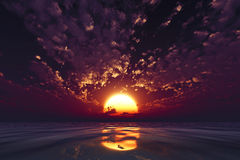 Dramatic violet sunset Royalty Free Stock Images