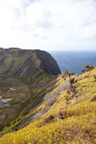 Dramatic Volcano crater near Orongo, Easter Island royalty free stock photography