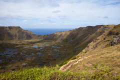 Dramatic Volcano crater near Orongo, Easter Island Royalty Free Stock Photo