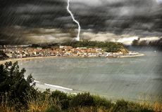 DRAMATIC WEATHER NORTH EAST. DRAMATIC WEATHER HITS SCARBOROUGH SOUTH BAY LIGHTNING HEAVY RAIN Stock Photos