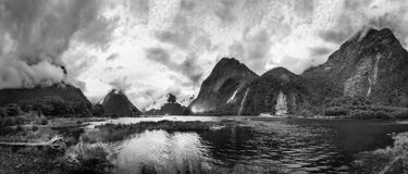 Dramatic weather at Milford Sound in black and white Stock Images