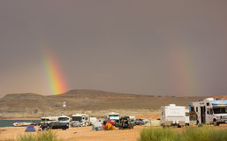 Dramatic weather moving over a popular campground in the desert Stock Photos
