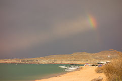 Dramatic weather moving over a popular campground in the desert Stock Images