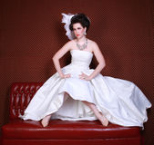 Dramatic Wedding Fashion on a Beautiful Bride Royalty Free Stock Image