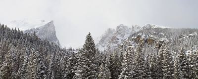 Wide view of mountain landscape in winter Stock Photography