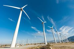 Dramatic Wind Turbine Farm in the Desert of California. Stock Image