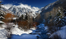 Free Dramatic Winter Clouds, Crystalline Alpine Snow, And Icy Stream In Rocky Mountains, Colorado Stock Images - 95702554