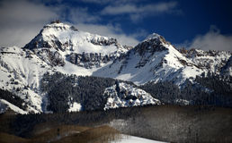 Dramatic Winter Clouds, Crystalline Alpine Snow in Rocky Mountains, Colorado stock photography