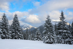 Dramatic winter landscape -  clouds float over the mountains Royalty Free Stock Image