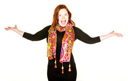 Dramatic Woman. With arms outstretched on white background Stock Photos