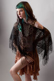 Dramatic Woman in Fringed Outfit Royalty Free Stock Photos