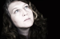 Dramatic woman looks at sky Royalty Free Stock Photo