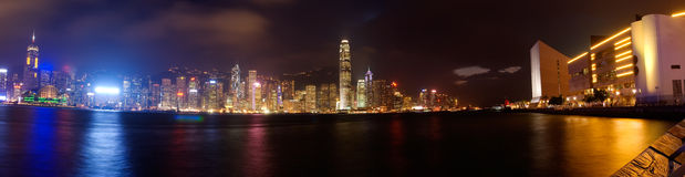 Dramatical  panoramic of Victoria harbor Stock Photo