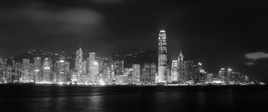 Dramatical  panoramic of Victoria harbor in HK Royalty Free Stock Image