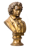 Dramatically lit bust of classical composer. A dramatically lit bust of classical composer Beethoven on white background stock images