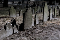 Dramatically lit tombstones in boston Royalty Free Stock Image