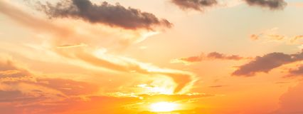 Free Dramatics Panorama Of Sunrise Sky With Clouds For Background Stock Photography - 163882762