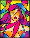 Dramatisch portret aantrekkelijk meisje met het stileren van violet haar in gebrandschilderd glasstijl stock illustratie