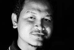 Dramatisch Rustig zwart-wit portret Stock Afbeelding