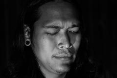 Dramatisch Rustig zwart-wit portret Stock Foto's