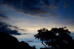 Dramatische avondhemel met zwarte silhouetten van bomen en heuvels Mooie kleuren van het naderen van nacht royalty-vrije stock afbeeldingen