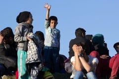 Dramatische beelden van de Sloveense vluchtelingscrisis Stock Afbeelding