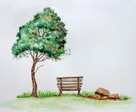 Dramatische boom die zich naast stoel bevinden Royalty-vrije Stock Afbeelding