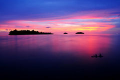 Dramatische scène tijdens zonsondergang Stock Fotografie