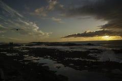 Dramatische zonsondergang bij de kust Royalty-vrije Stock Afbeeldingen