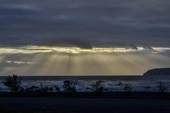 Dramatische zonsondergang over de Atlantische Oceaan met silhouetten van struiken Stock Foto