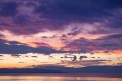 Dramatische zonsondergang over Kvarner-baai Stock Foto